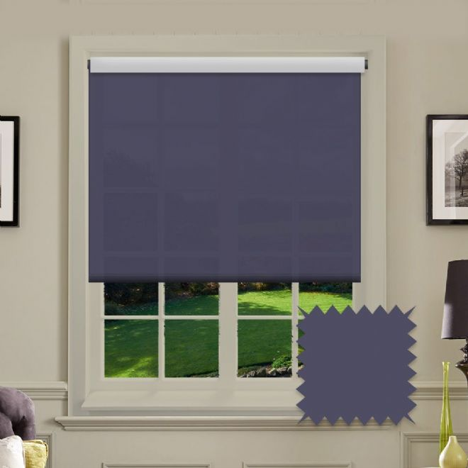 Navy Roller Blind - Astral Midnight Plain - Just Blinds